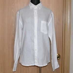 J.CREW white linen button up career slim fit shirt